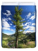 Dolomites - Tree Over The Valley Duvet Cover