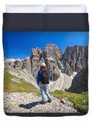 Dolomiti - Hiker In Sella Mount Duvet Cover