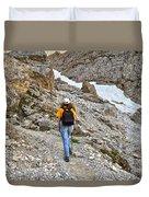 Dolomiti - Hiker In Val Setus Duvet Cover