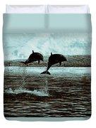 Dolphin Pair-in The Air Duvet Cover