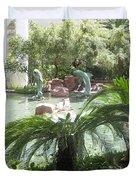 Dolphin Pond And Garden Green Duvet Cover