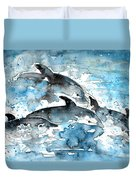 Dolphins In Gran Canaria Duvet Cover