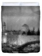 Dome Of The Rock -- Black And White Duvet Cover
