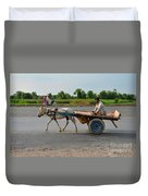 Donkey Cart Driver And Motorcycle On Pakistan Highway Duvet Cover