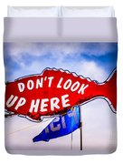 Don't Look Up Here Crab Cooker Sign Photo Duvet Cover