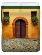 Door And Flowers In A Tuscan Courtyard Duvet Cover