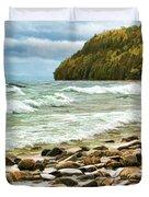 Door County Porcupine Bay Waves Duvet Cover