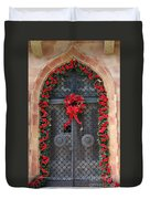 Door With Christmas Decoration  Duvet Cover