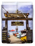 Dory Fishing Fleet Market Newport Beach California Duvet Cover by Paul Velgos
