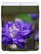 Double Blue Columbine Flower Duvet Cover