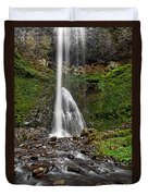 Double Falls In Silver Falls State Park In Oregon Duvet Cover
