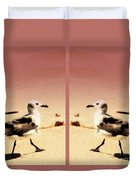 Double Gulls Collage Duvet Cover