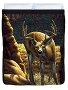 Whitetail Buck - Double Take Duvet Cover by Crista Forest