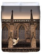Dove Flying By Church Duvet Cover