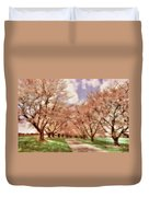 Down The Cherry Lined Lane Duvet Cover