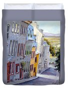 Down The Hill Old Quebec City Duvet Cover