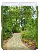 Down The Path To The Bench Duvet Cover