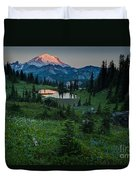 Down The Valley To Rainier Duvet Cover