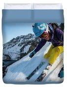 Downhill Skiier In Portillo, Chile Duvet Cover
