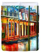 Downpour On Bourbon Street Duvet Cover