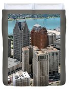 Downtown Aerial Of Detroit Michigan Duvet Cover