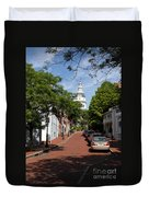 Downtown Annapolis With Maryland State House Cupola Duvet Cover