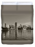 Downtown Baltimore Skyline Sepia Duvet Cover