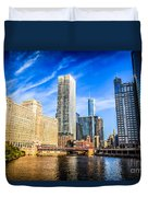 Downtown Chicago At Franklin Street Bridge Picture Duvet Cover by Paul Velgos