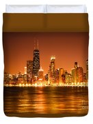 Downtown Chicago At Night With Chicago Skyline Duvet Cover by Paul Velgos