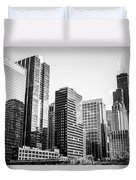 Downtown Chicago Buildings In Black And White Duvet Cover