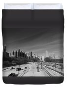 Downtown Chicago Train Tracks Black And White Duvet Cover