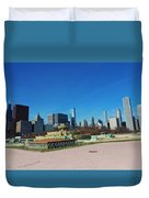 Downtown Chicago With Buckingham Fountain 2 Duvet Cover