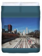 Downtown Chicago With Train Tracks Duvet Cover