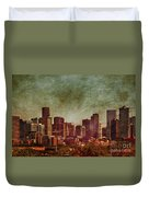 Downtown Denver Antiqued Postcard Duvet Cover