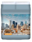 Downtown Houston Panorama Duvet Cover