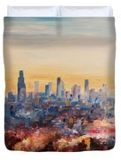 Downtown Los Angeles At Dusk Duvet Cover