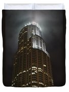 Downtown Los Angeles In The Fog Duvet Cover