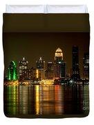 Downtown Louisville Kentucky Skyline Night Shot Duvet Cover
