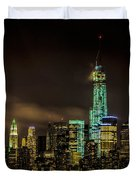 Downtown Manhattan At Night Duvet Cover