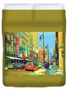 Downtown Montreal Eatons Centre Complex Les Ailes Old Navy Rue Mcgill College City Scenes  C Spandau Duvet Cover