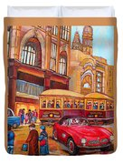 Downtown Montreal-streetcars-couple Near Red Fifties Mustang-montreal Vintage Street Scene Duvet Cover