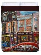 Downtown Montreal Streetscene Duvet Cover