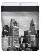 Downtown Philadelphia Duvet Cover by Rona Black