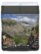 Downtown Telluride Colorado Duvet Cover by Mike McGlothlen