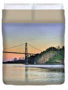 Downtown Vancouver And Lions Gate Bridge At Twilight Duvet Cover by Eti Reid