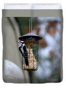 Downy Woodpecker Duvet Cover