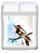 Downy Woodpecker Sumi-e Duvet Cover