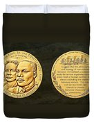 Dr Martin Luther King Jr And Coretta Scott King Bronze Medal Art Duvet Cover