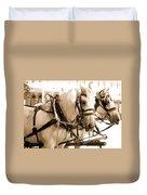 Draft Horses Enjoy A Day In Old Sacramento Duvet Cover