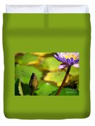 Dragon Fly On Bud And Water Lily Horizontal Number One Duvet Cover